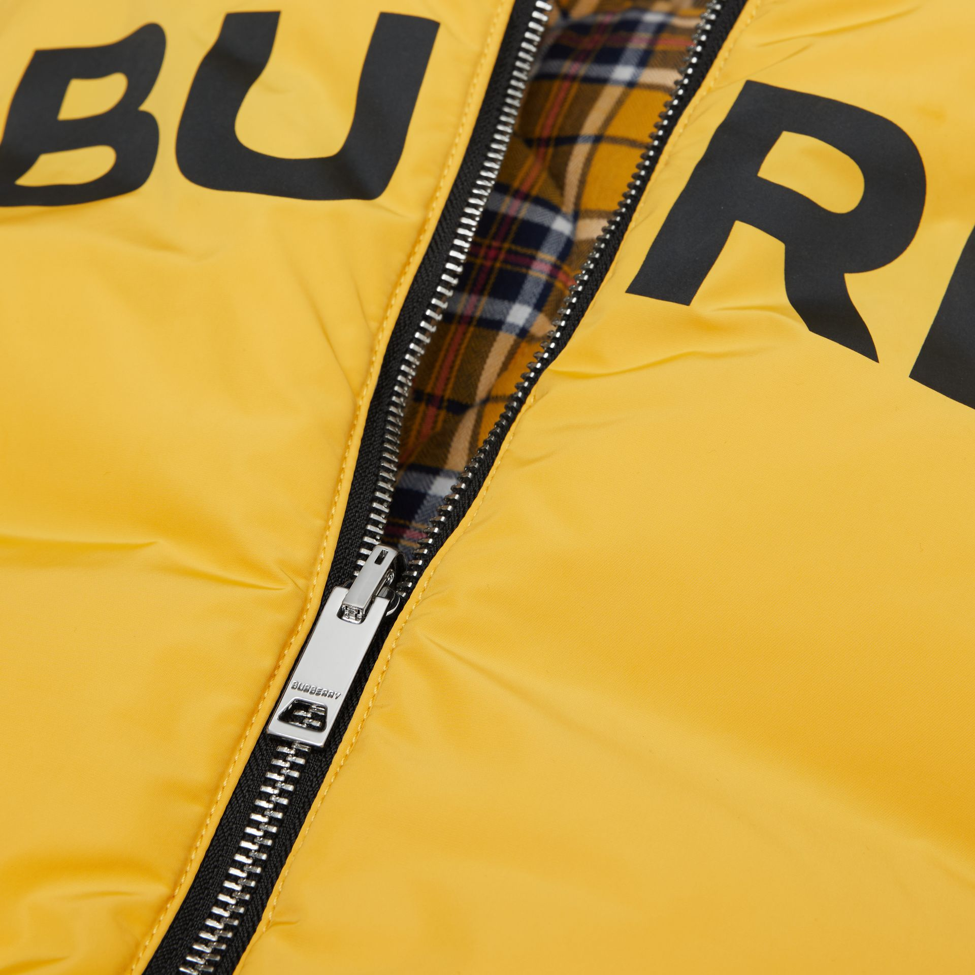 Reversible Horseferry Print Shape-memory Taffeta Gilet in Souwester Yellow | Burberry - gallery image 1