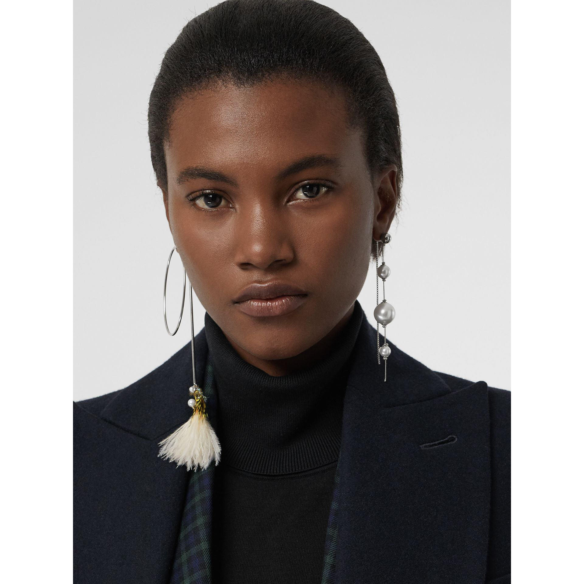 Faux Pearl and Feather Palladium-plated Drop Earrings in Palladio/limestone - Women | Burberry United Kingdom - gallery image 2