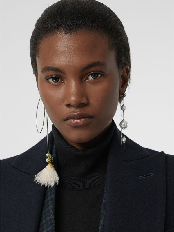Faux Pearl and Feather Palladium-plated Drop Earrings in Palladio/limestone - Women | Burberry United Kingdom - cell image 2