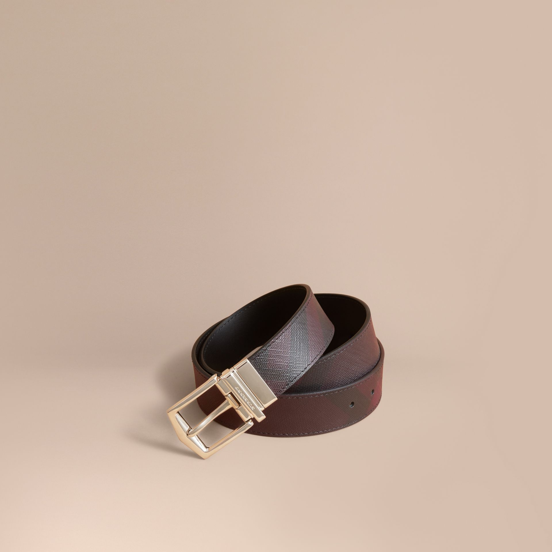 Reversible London Check and Leather Belt in Deep Claret/black - Men | Burberry - gallery image 1