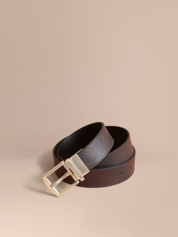 Reversible London Check and Leather Belt in Deep Claret/black