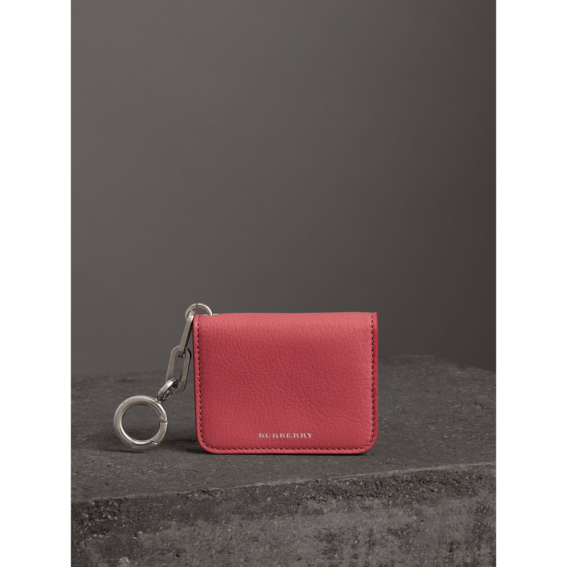 Link Detail Leather ID Card Case Charm in Bright Coral Pink - Women | Burberry - gallery image 4
