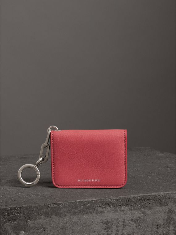 Link Detail Leather ID Card Case Charm in Bright Coral Pink