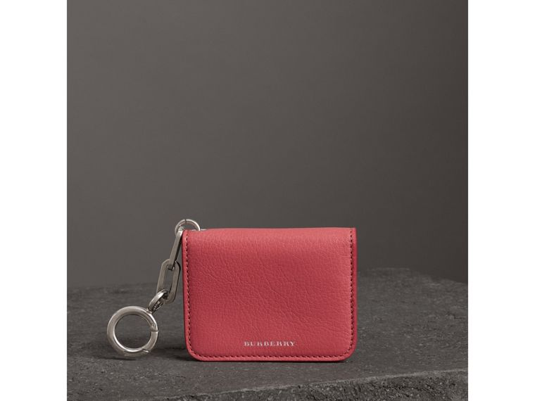 Link Detail Leather ID Card Case Charm in Bright Coral Pink - Women | Burberry - cell image 4
