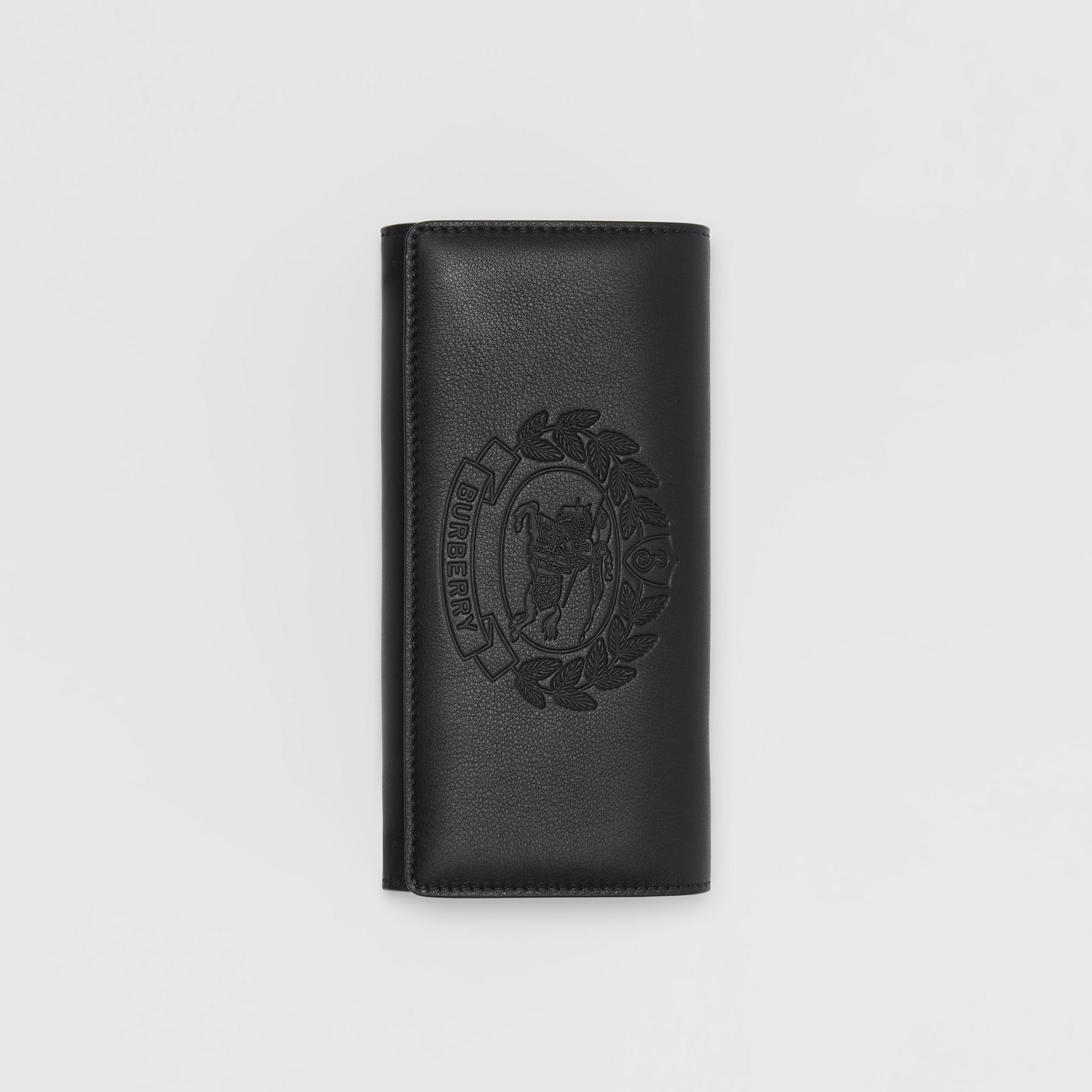 Embossed Crest Two-tone Leather Continental Wallet in Black - Women | Burberry United States - gallery image 3