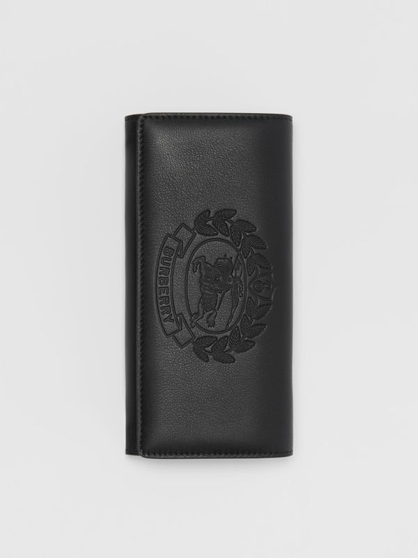 Embossed Crest Two-tone Leather Continental Wallet in Black - Women | Burberry United States - cell image 3