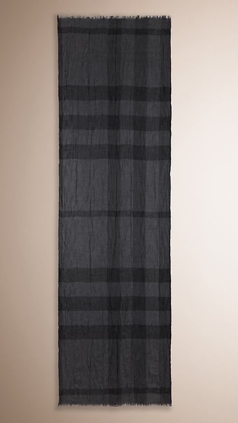 Dark charcoal check Check Cashmere Crinkled Scarf - Image 2