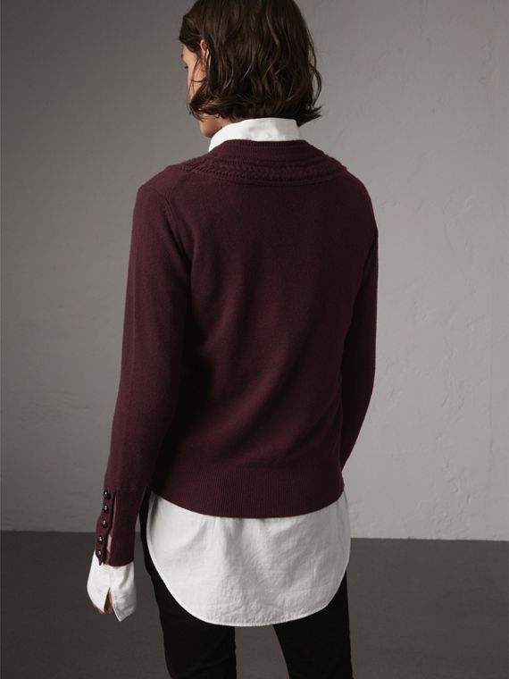 Cable Knit Yoke Cashmere Sweater in Deep Claret - Women | Burberry Hong Kong - cell image 2
