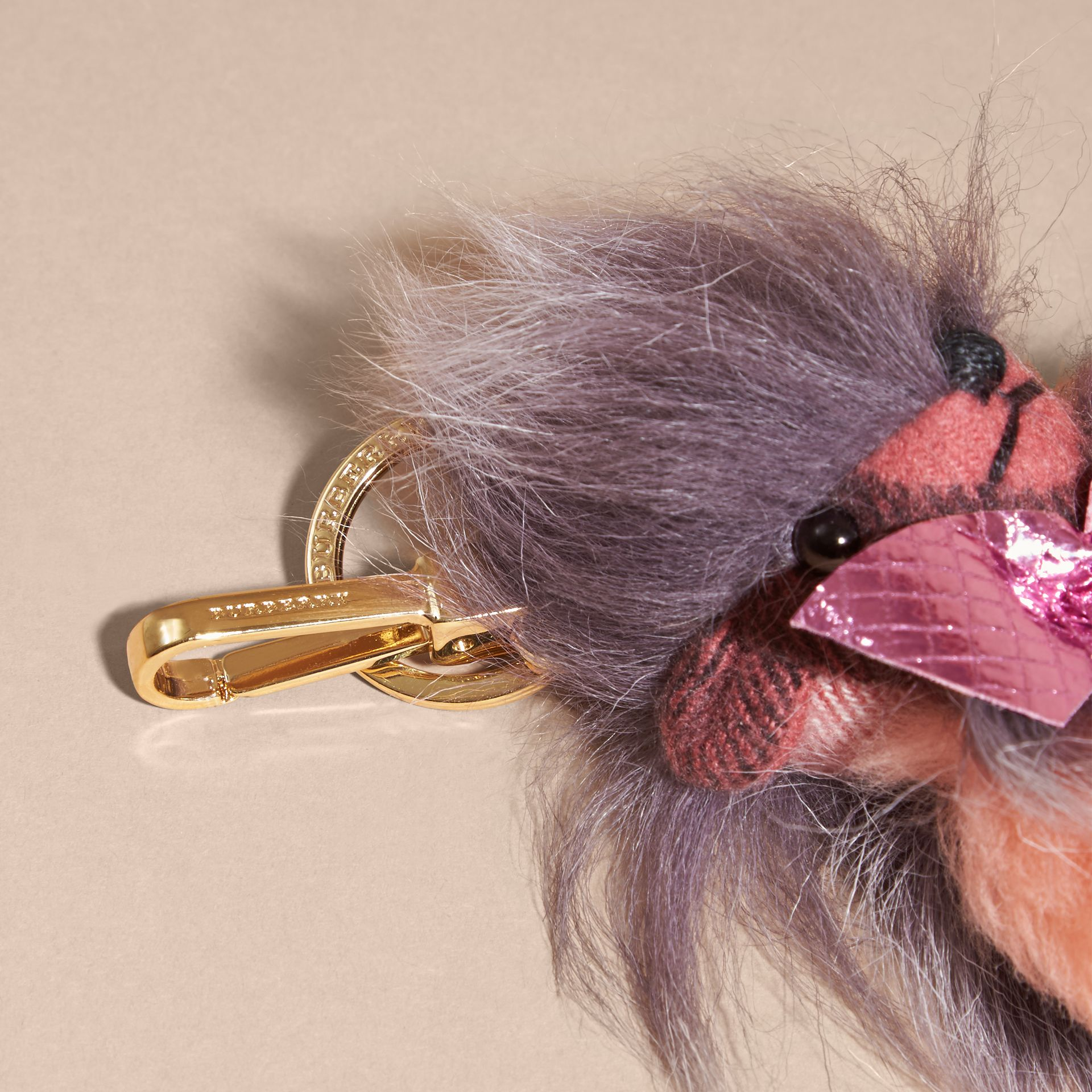 Thomas Bear Pom-Pom Charm in Check Cashmere in Rose Pink - gallery image 3