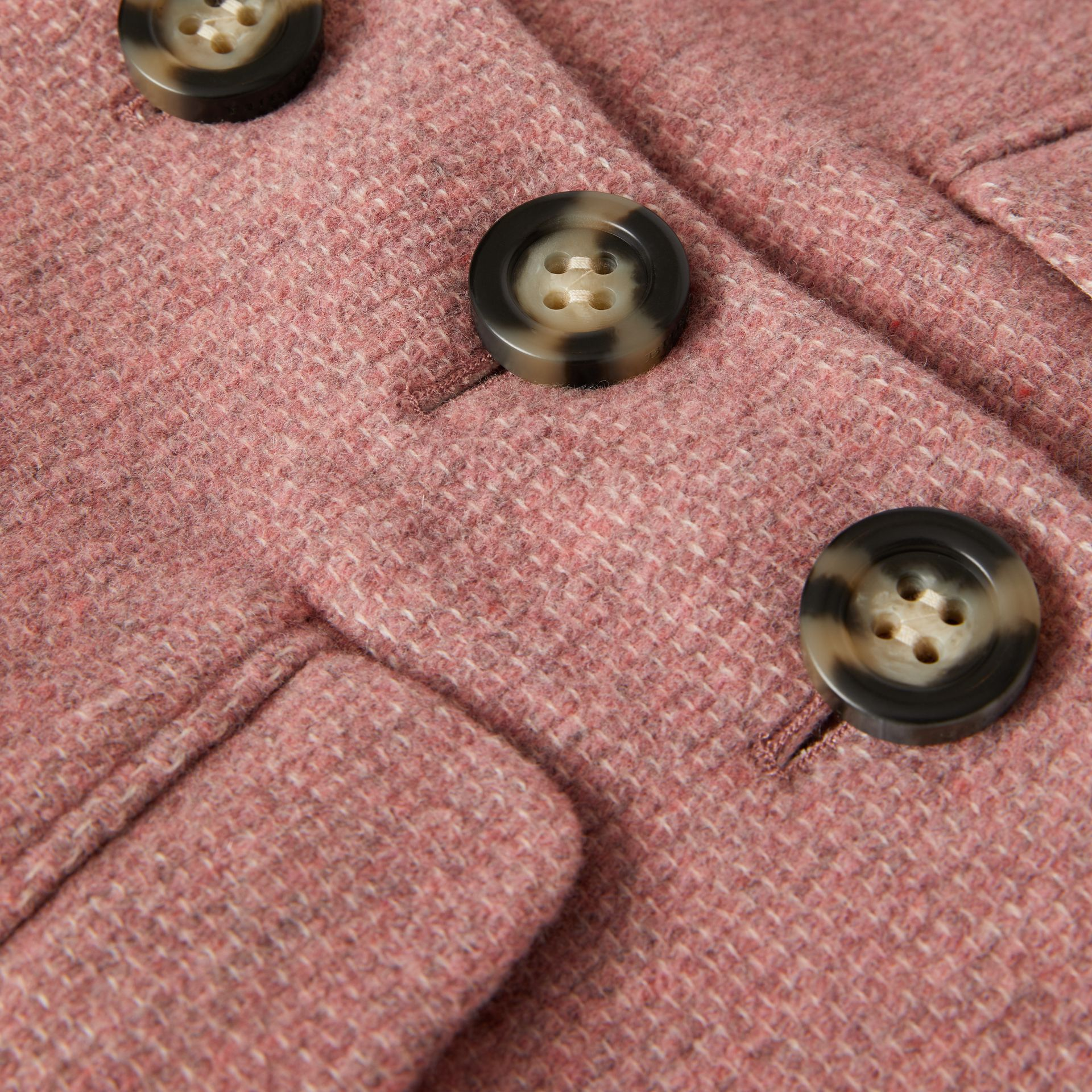 Wool Blend Pea Coat in Rose Pink Melange - Children | Burberry United Kingdom - gallery image 1