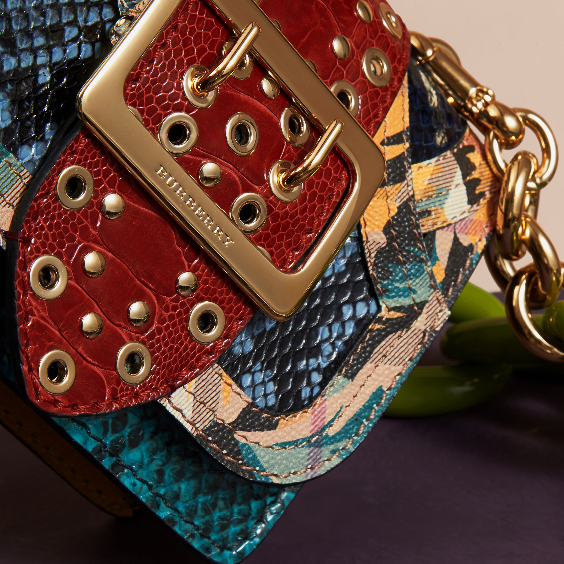 Pewter blue The Mini Square Buckle Bag in Snakeskin, Ostrich and Floral Print - gallery image 2