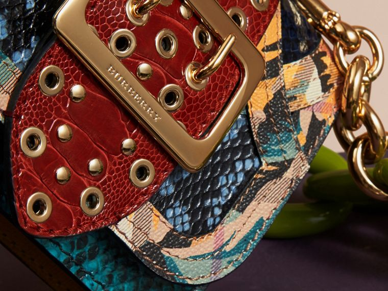 Pewter blue The Mini Square Buckle Bag in Snakeskin, Ostrich and Floral Print - cell image 1