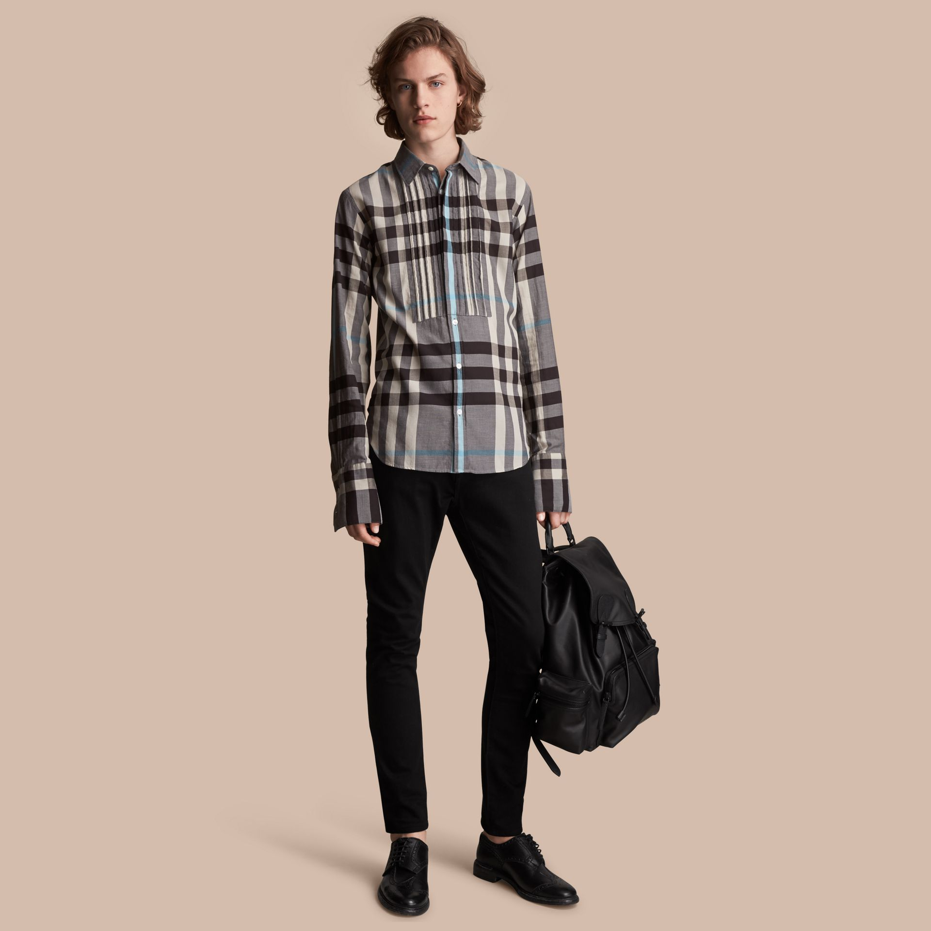 Double-cuff Pintuck Bib Check Cotton Shirt - Men | Burberry - gallery image 1