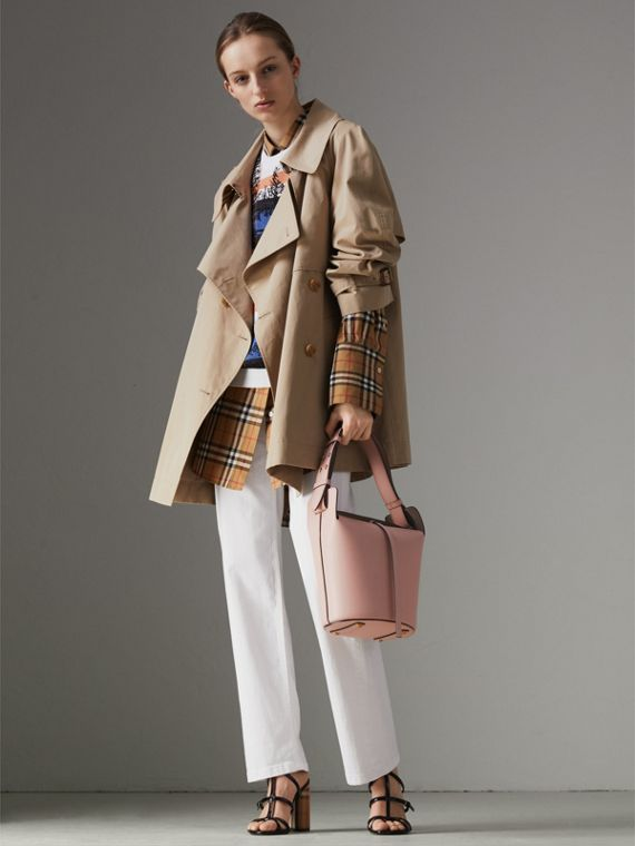 The Small Leather Bucket Bag in Pale Ash Rose - Women | Burberry United States - cell image 2