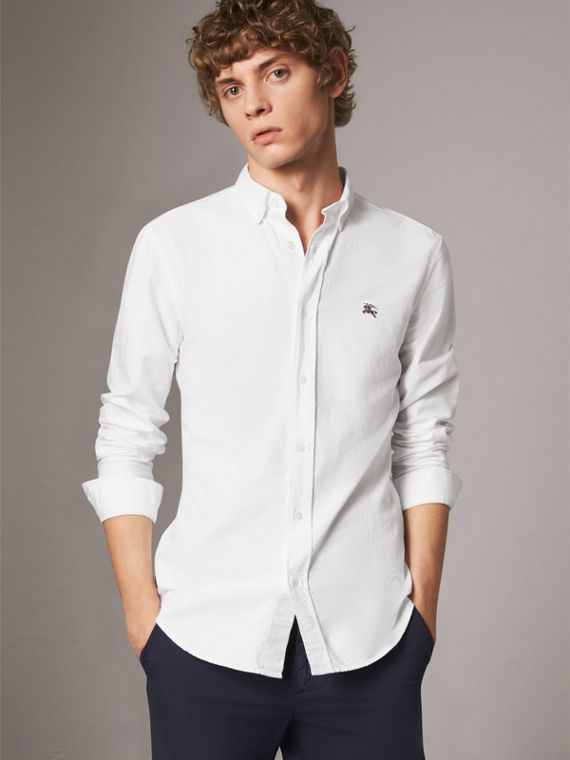 Cotton Oxford Shirt in White