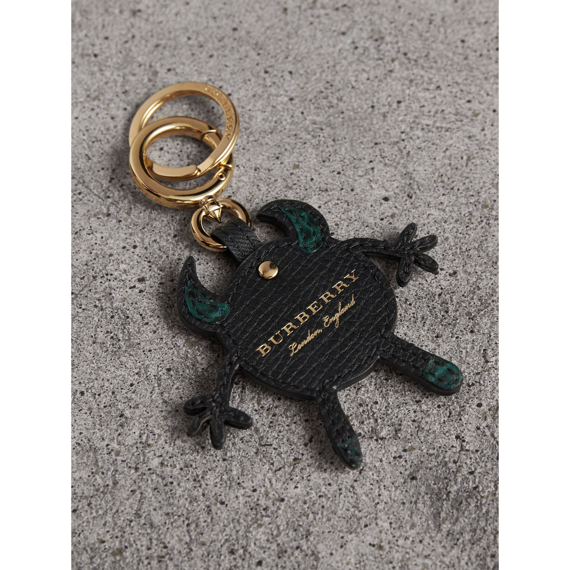 Creature Motif Leather Trim Key Ring in Black - Men | Burberry - gallery image 3