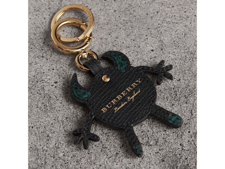 Creature Motif Leather Trim Key Ring in Black - Men | Burberry United Kingdom - cell image 2