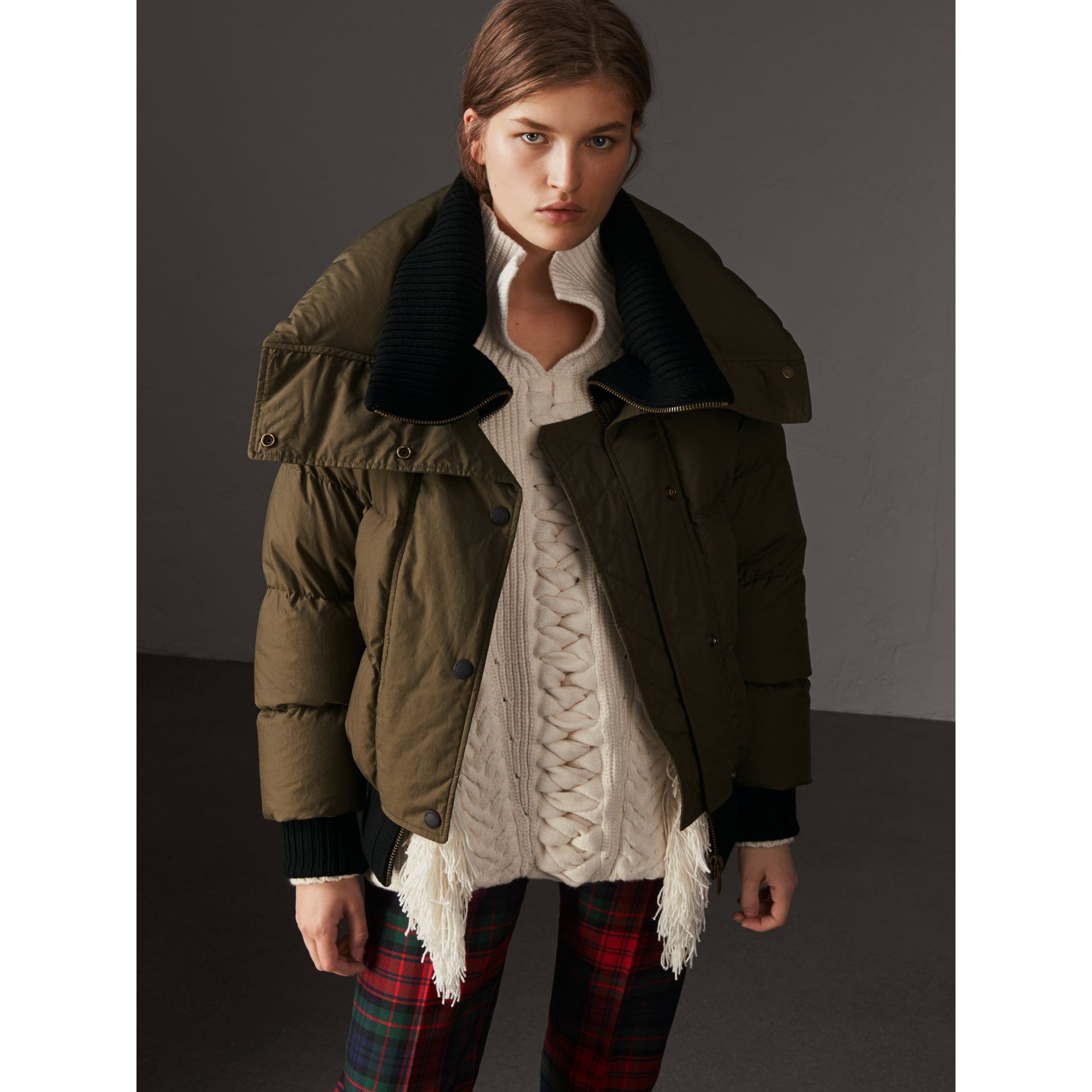 Oversized Rib Knit Collar Down-filled Bomber Jacket in Olive Green - Women | Burberry - gallery image 6