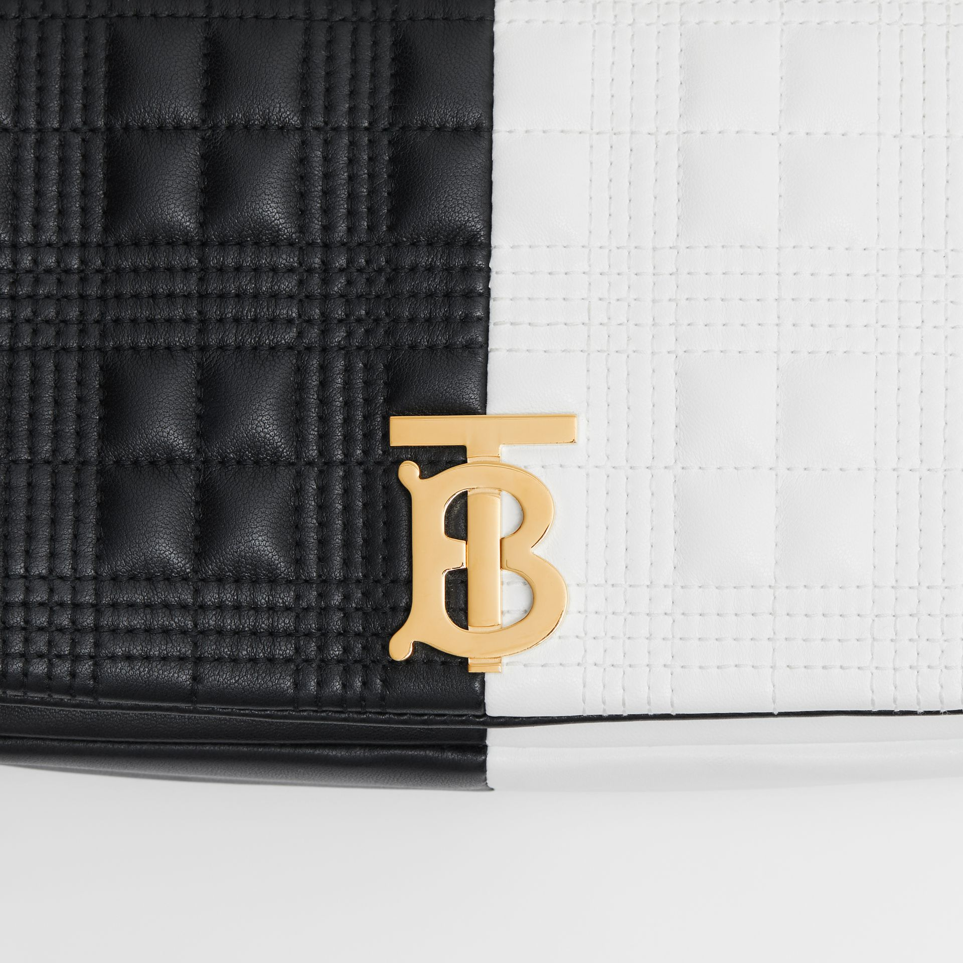 Small Quilted Check Two-tone Lambskin Lola Bag in White/black - Women | Burberry United Kingdom - gallery image 1