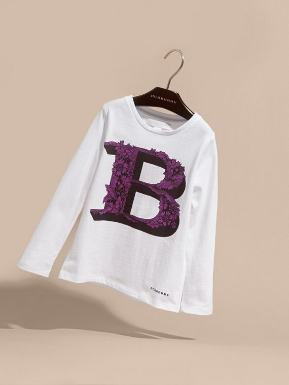 Dark violet Decorative Letter Motif Long-sleeved Cotton T-Shirt - cell image 2