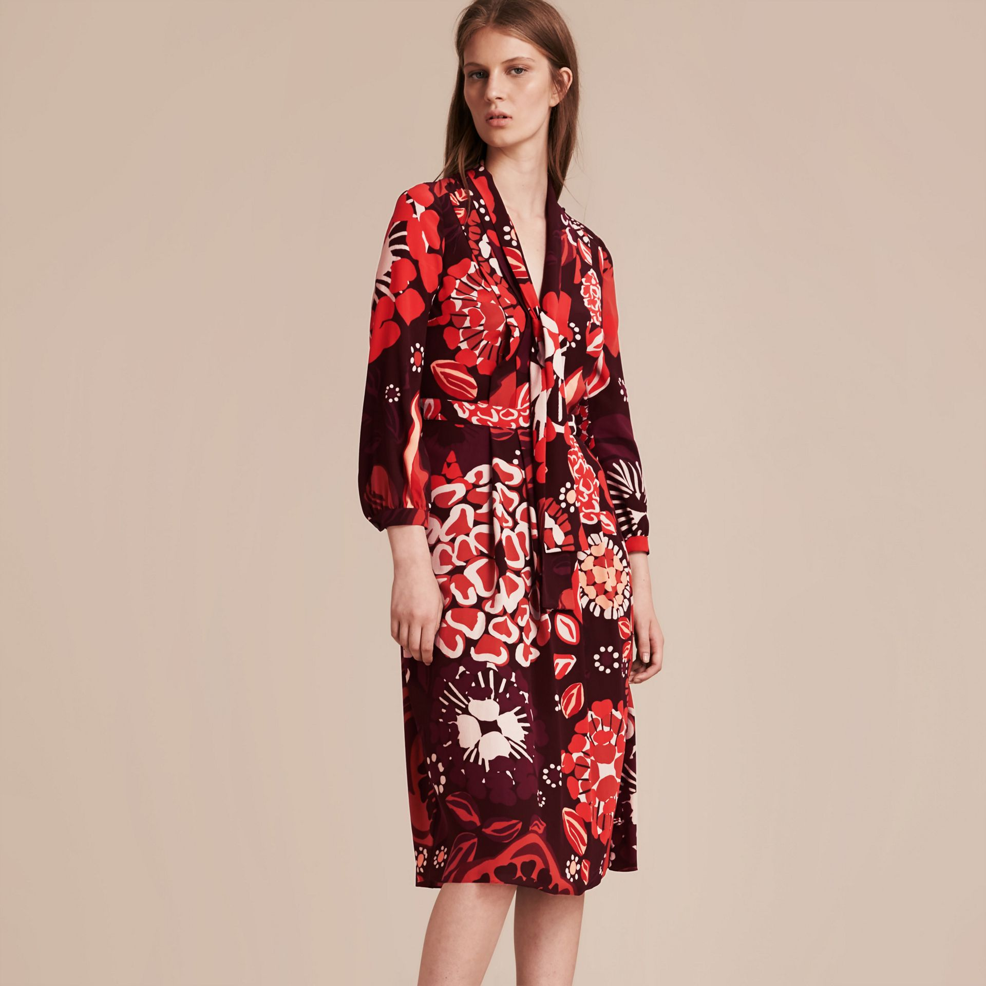 Deep burgundy Floral Print Silk Dress - gallery image 6