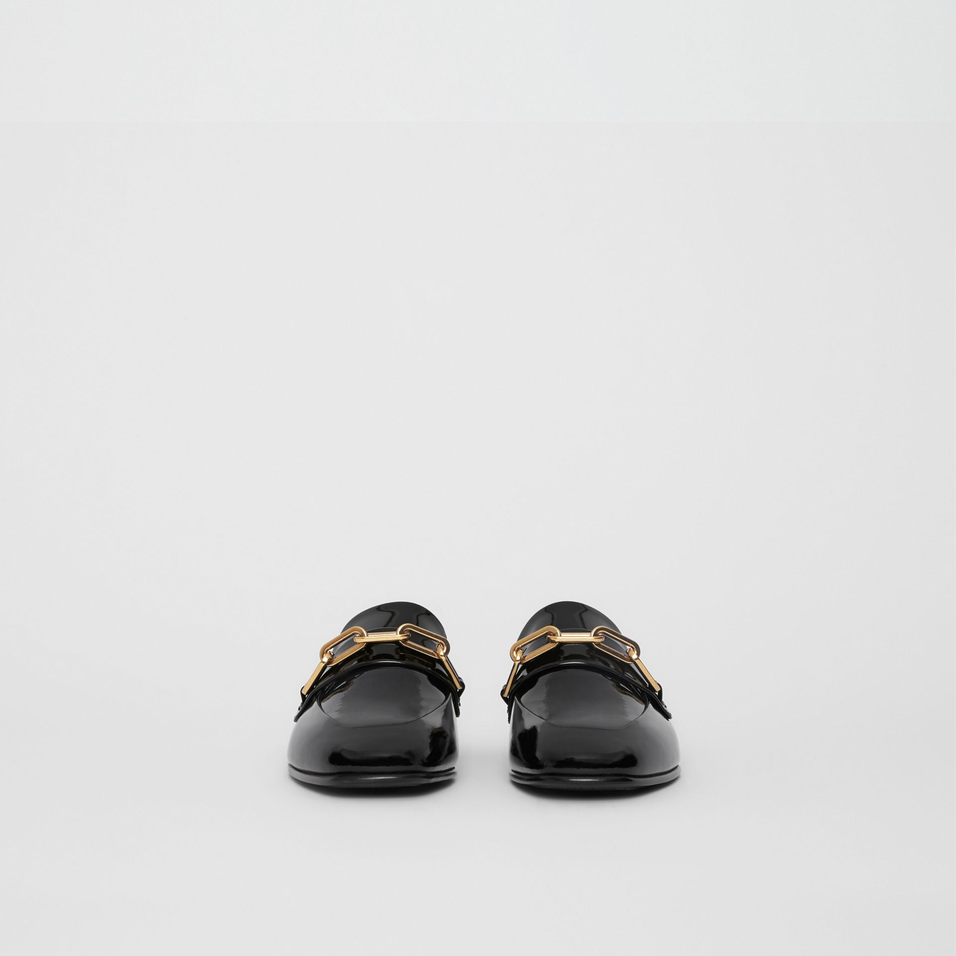 Link Detail Patent Leather Loafers in Black - Women | Burberry - gallery image 3