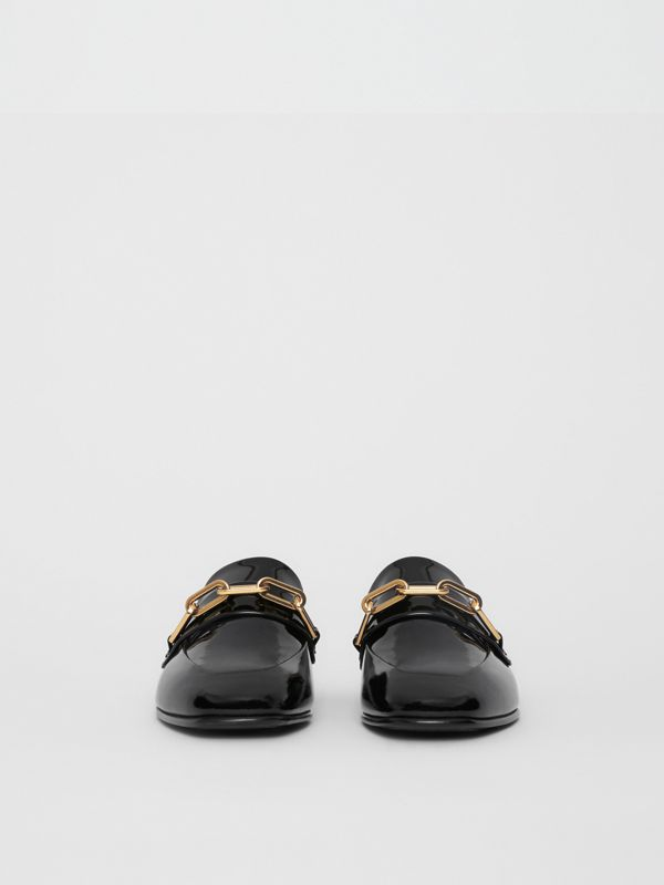 Link Detail Patent Leather Loafers in Black - Women | Burberry - cell image 3
