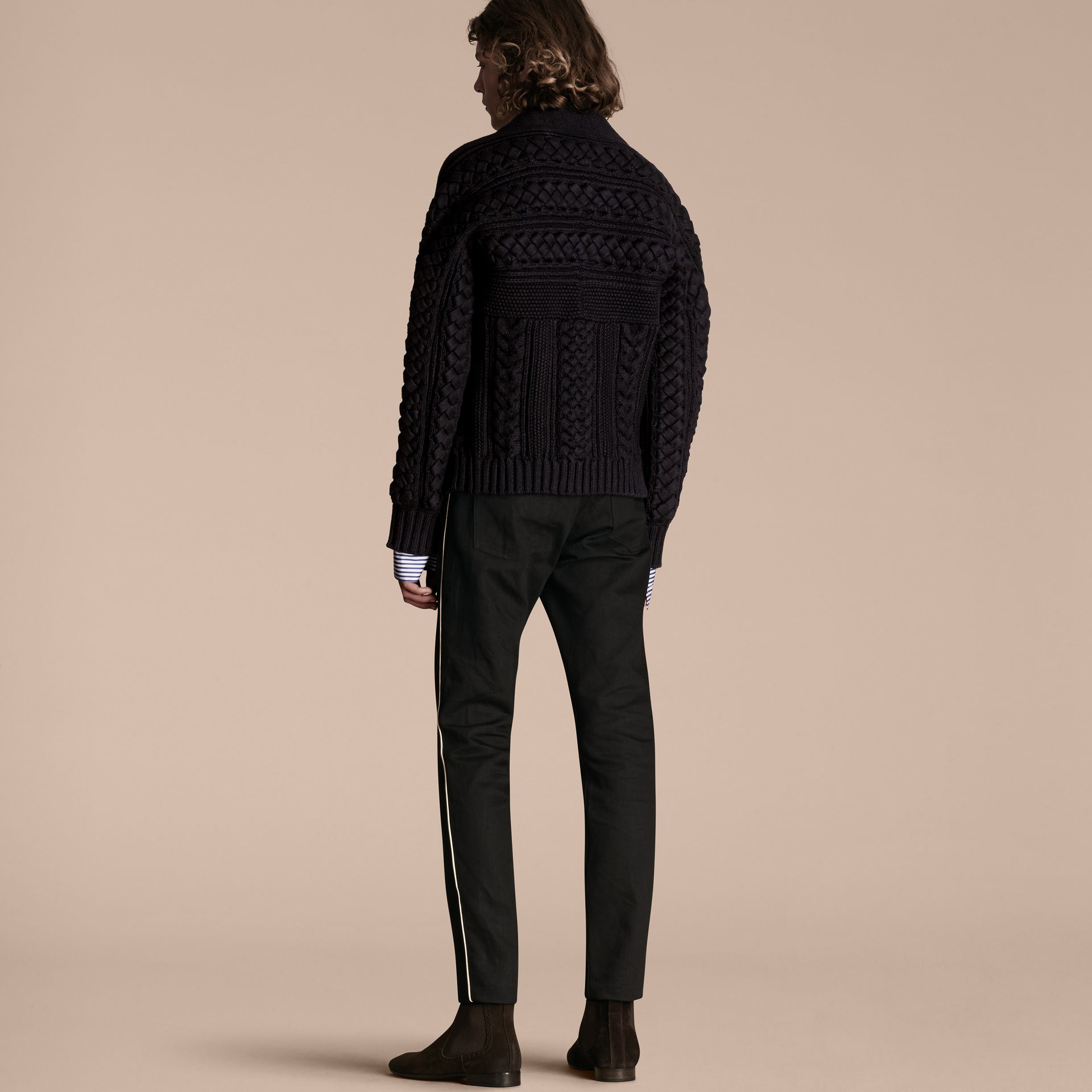 Navy black Multi-knit Cotton Blend Sweater - gallery image 3