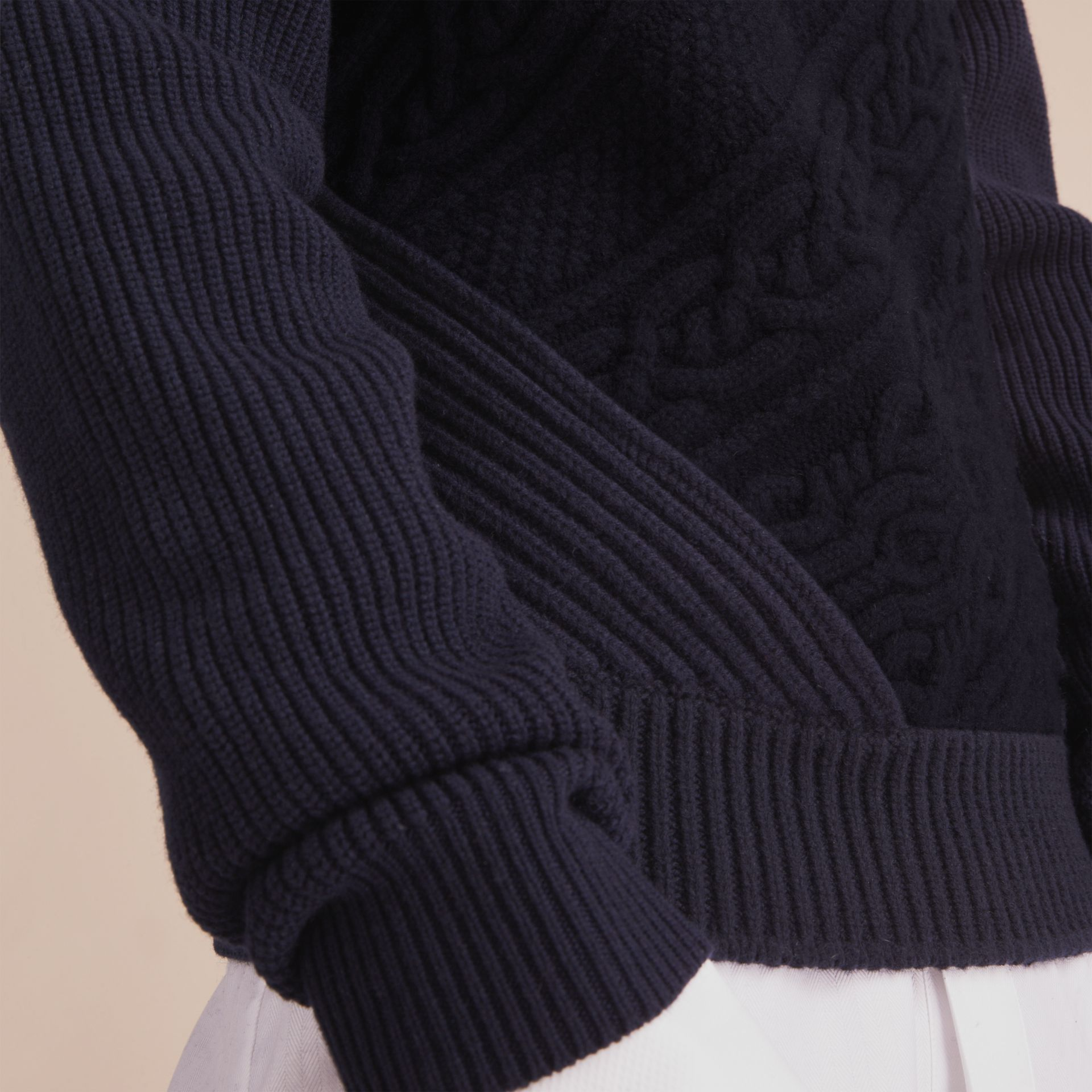 Cashmere Sweater with Cable Knit Detail - gallery image 5