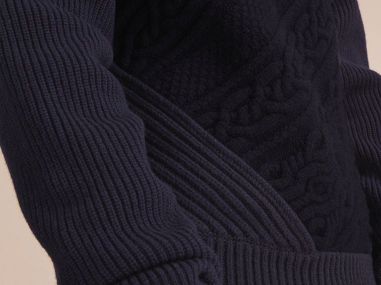Cashmere Sweater with Cable Knit Detail - cell image 4