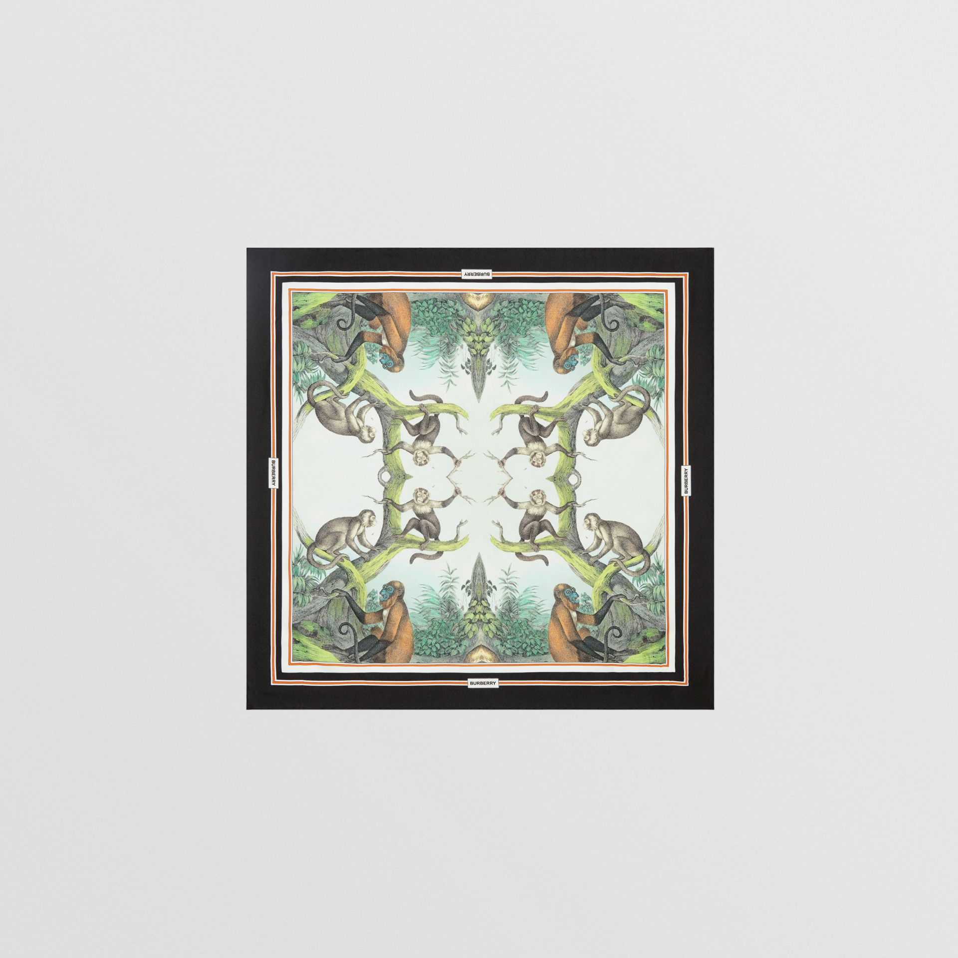 Monkey Print Silk Small Square Scarf in Light Opal Green | Burberry United Kingdom - gallery image 0