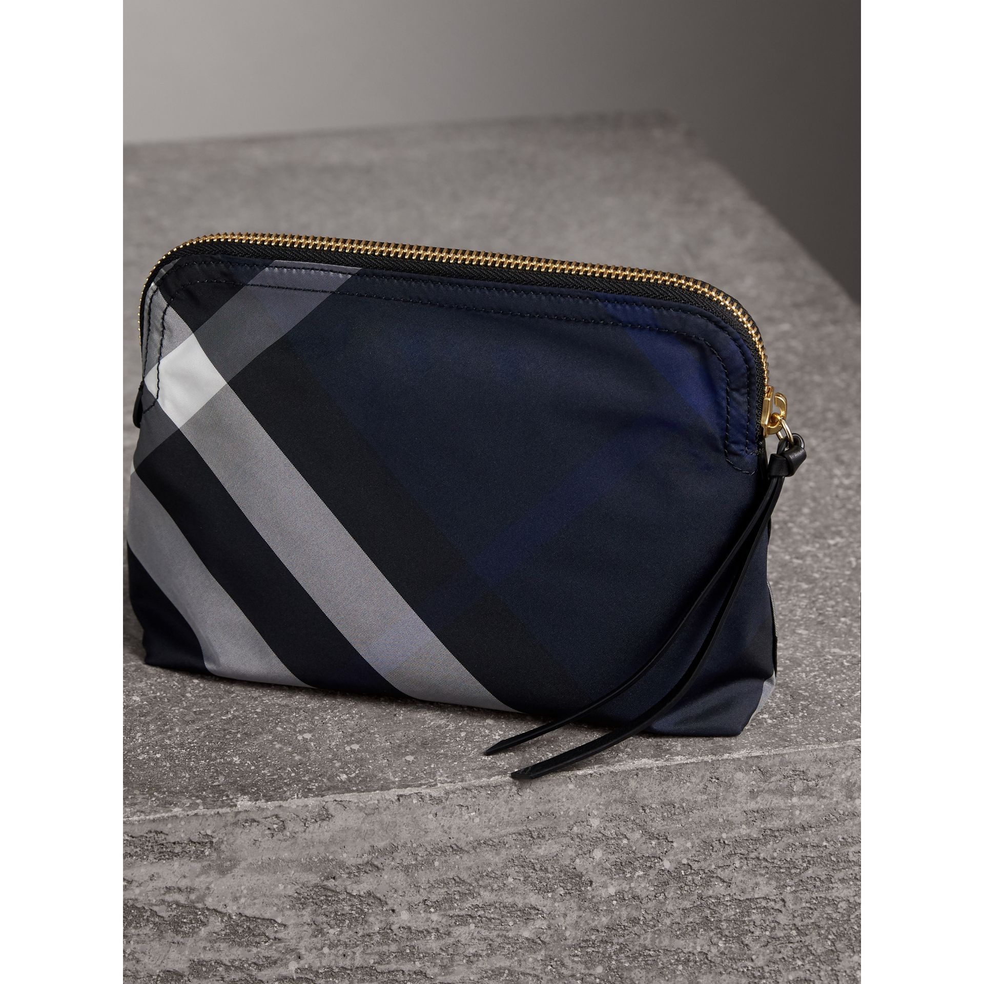 Large Zip-top Check Pouch in Indigo Blue - Women | Burberry - gallery image 3