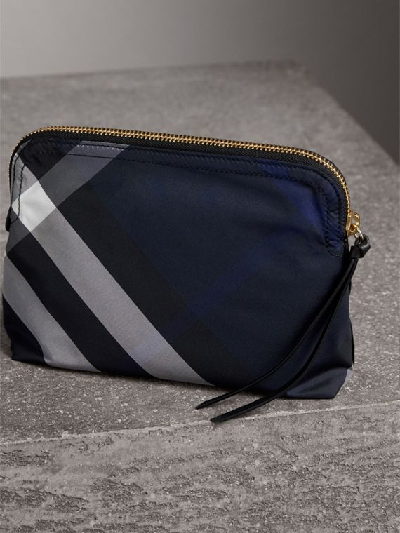 Large Zip-top Check Pouch in Indigo Blue - Women | Burberry - cell image 2