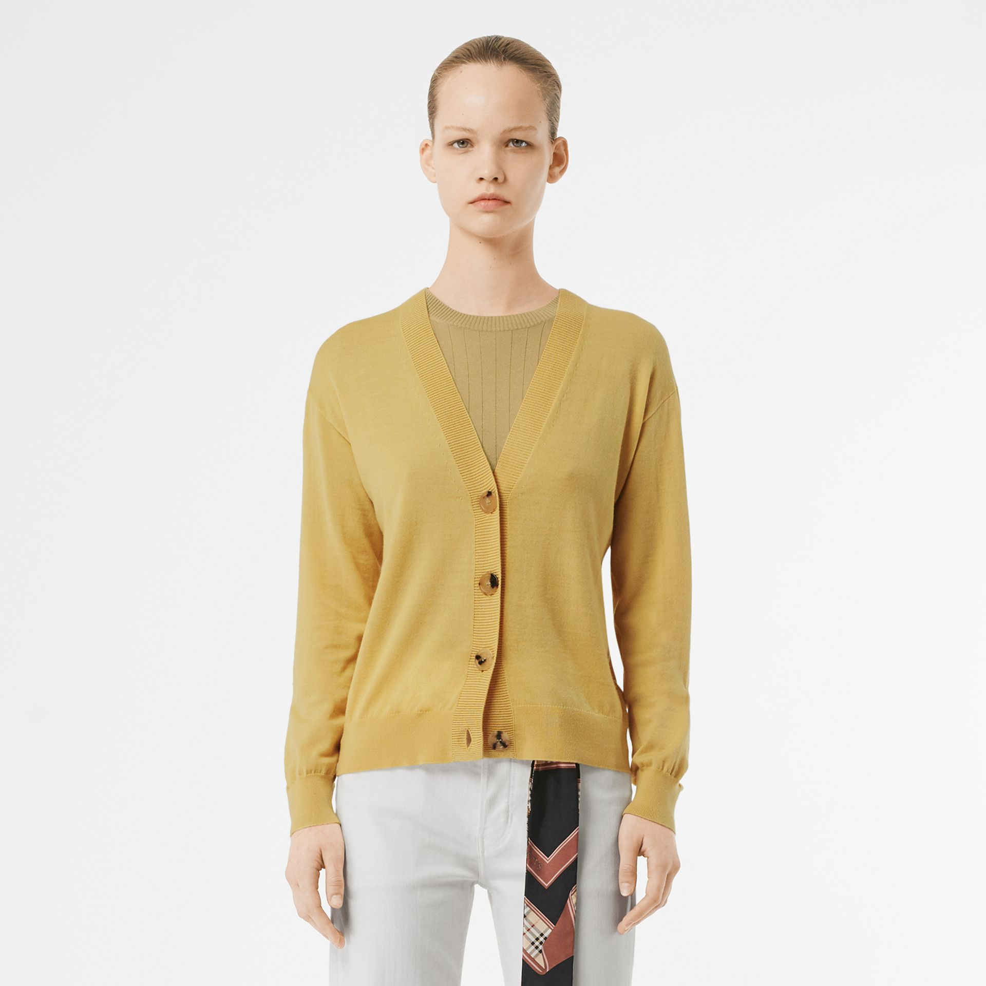 Logo Detail Merino Wool Cardigan in Primrose Yellow - Women | Burberry - gallery image 5