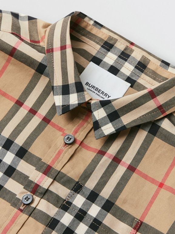 Vintage Check Cotton Shirt in Archive Beige - Children | Burberry Australia - cell image 1