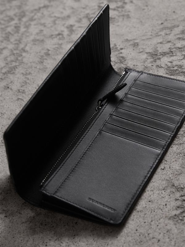 London Check and Leather Continental Wallet in Charcoal/black - Men | Burberry - cell image 3