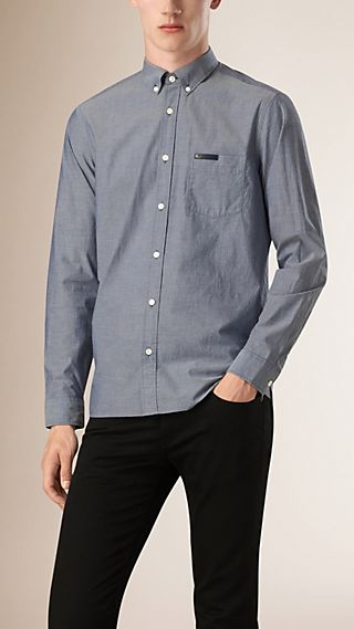 Regular Fit Cotton Chambray Shirt