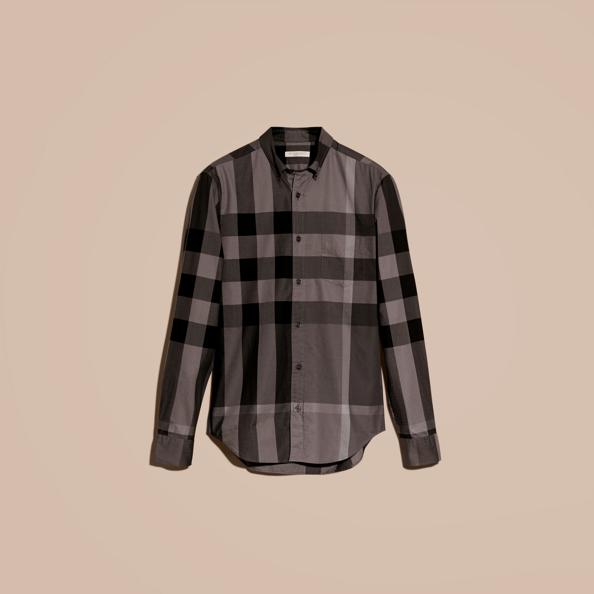 Charcoal Check Cotton Shirt Charcoal - gallery image 4