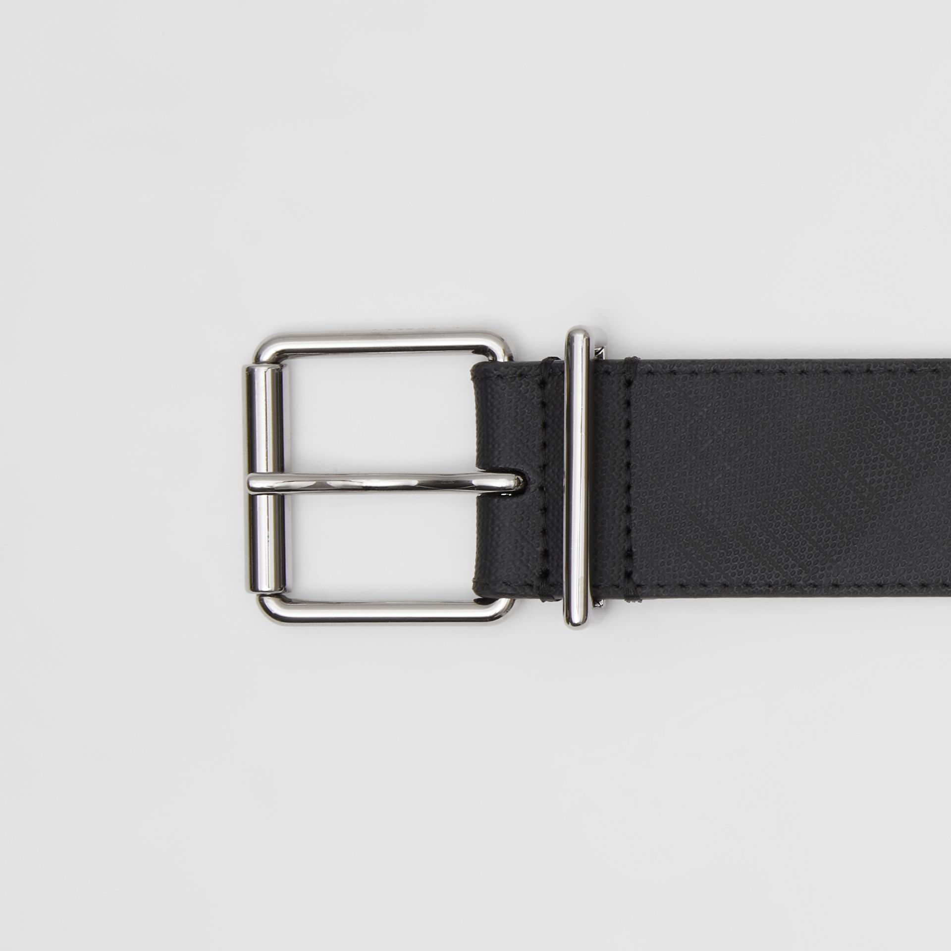 London Check and Leather Belt in Dark Charcoal - Men | Burberry United Kingdom - gallery image 1