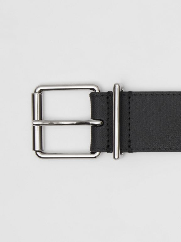 London Check and Leather Belt in Dark Charcoal - Men | Burberry - cell image 1