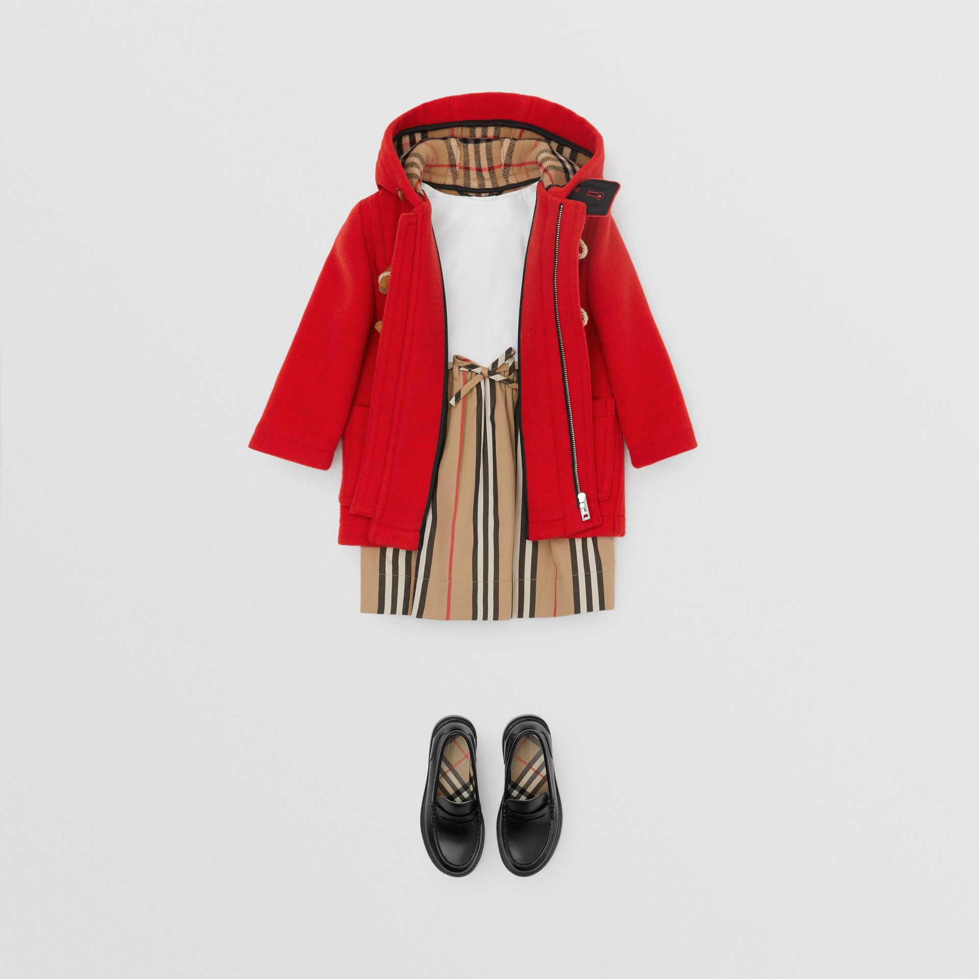 Boiled Wool Duffle Coat in Bright Red - Children | Burberry - gallery image 2
