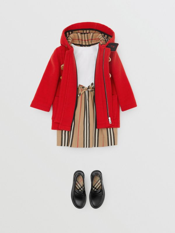 Boiled Wool Duffle Coat in Bright Red - Children | Burberry - cell image 2