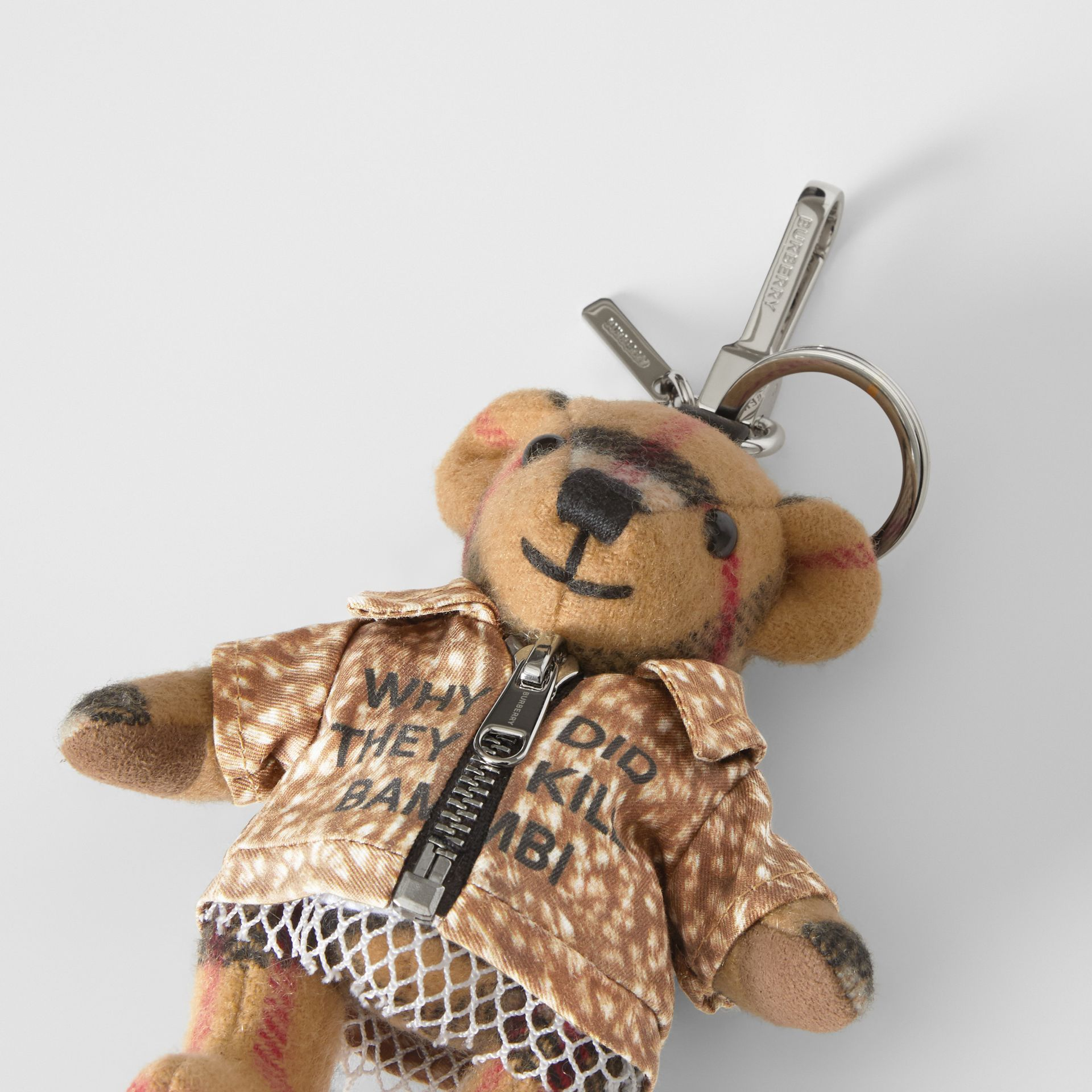 Thomas Bear Charm in Deer Print Coat in Antique Yellow | Burberry United Kingdom - gallery image 1