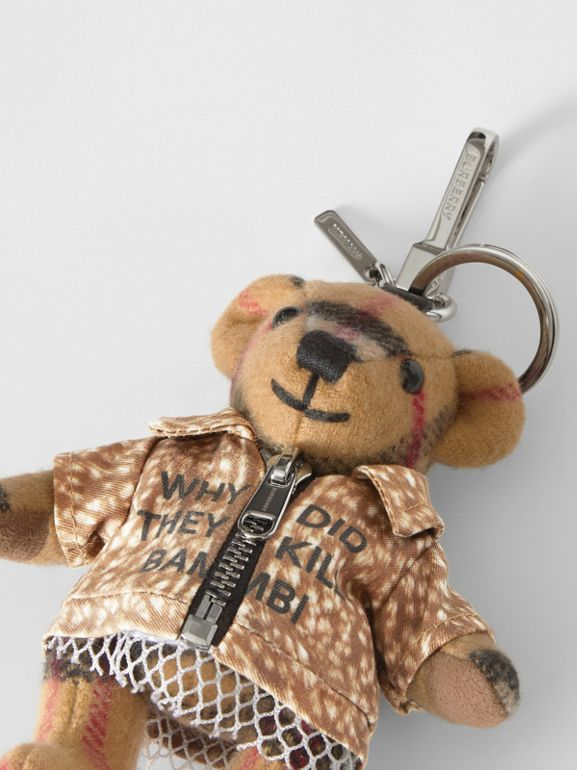 Thomas Bear Charm in Deer Print Coat in Antique Yellow | Burberry - cell image 1