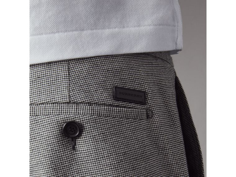 Micro Houndstooth Cotton Wool Blend Drawstring Trousers in Charcoal - Men | Burberry Australia - cell image 1