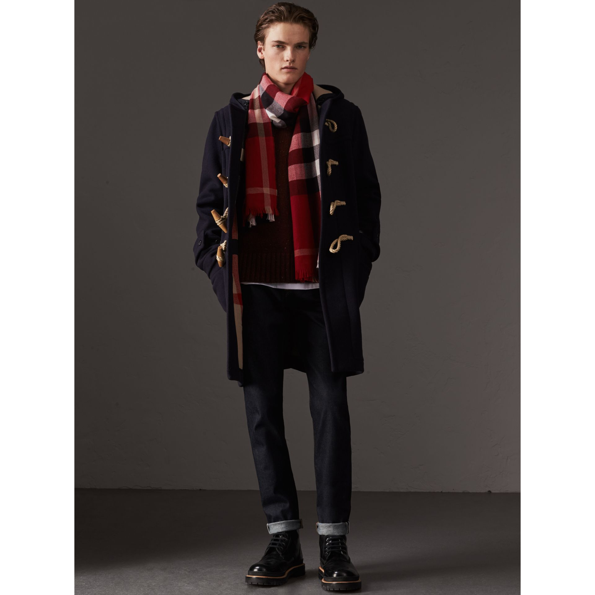 Lightweight Check Wool Cashmere Scarf in Parade Red | Burberry Singapore - gallery image 3
