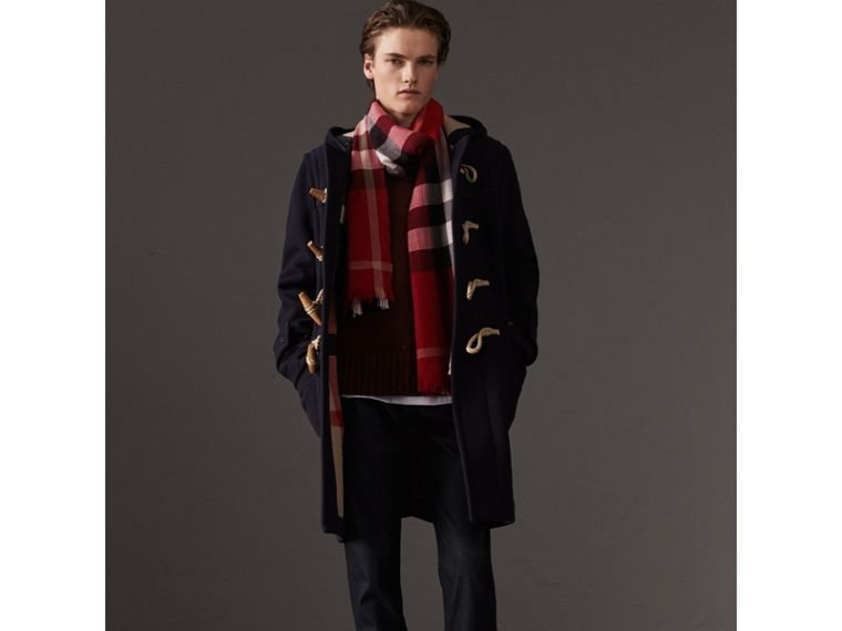 Lightweight Check Wool Cashmere Scarf in Parade Red | Burberry Singapore - cell image 2