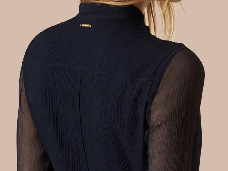 Темно-синий Платье макси из шелка с плиссировкой - cell image 1