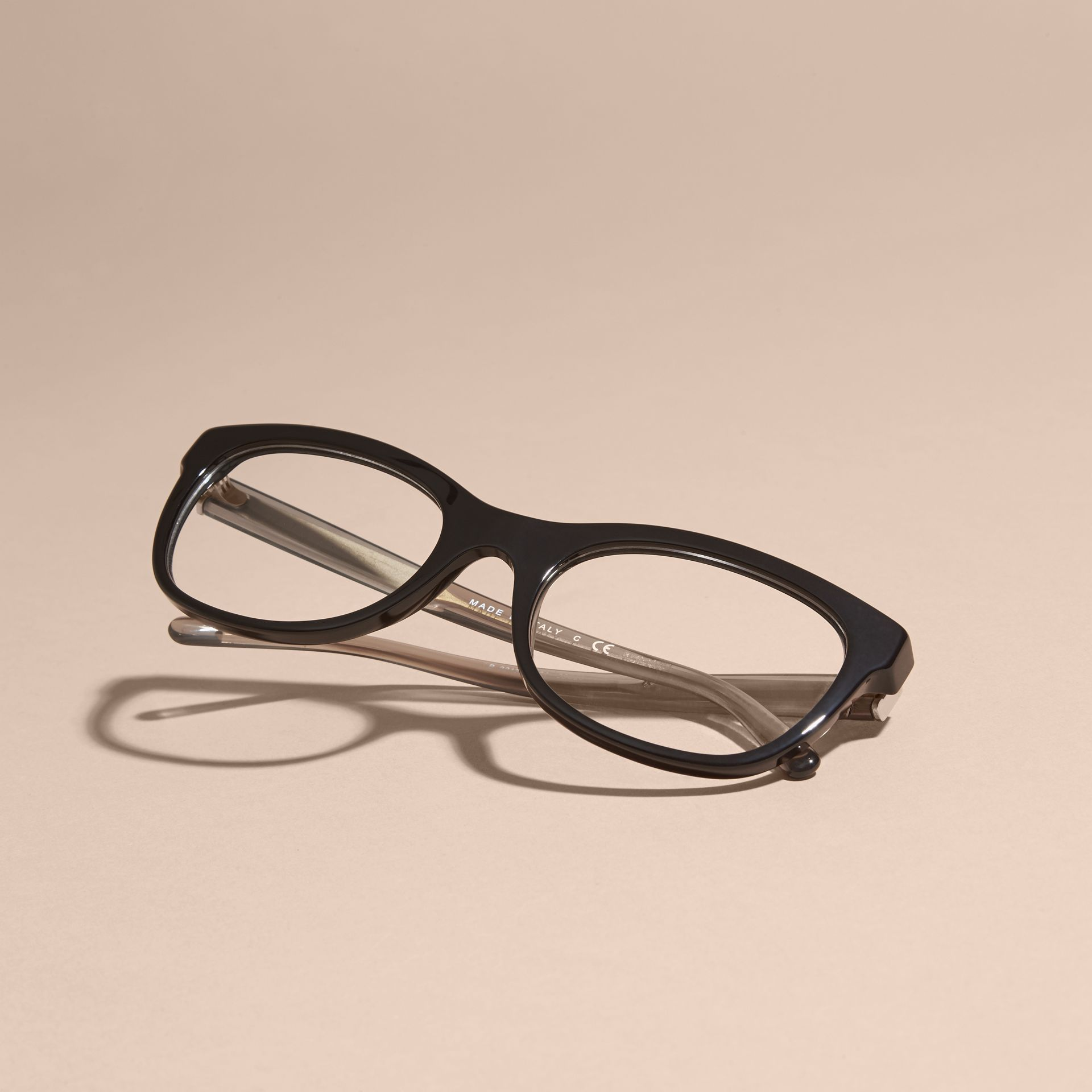 Black Check Detail Oval Optical Frames Black - gallery image 5