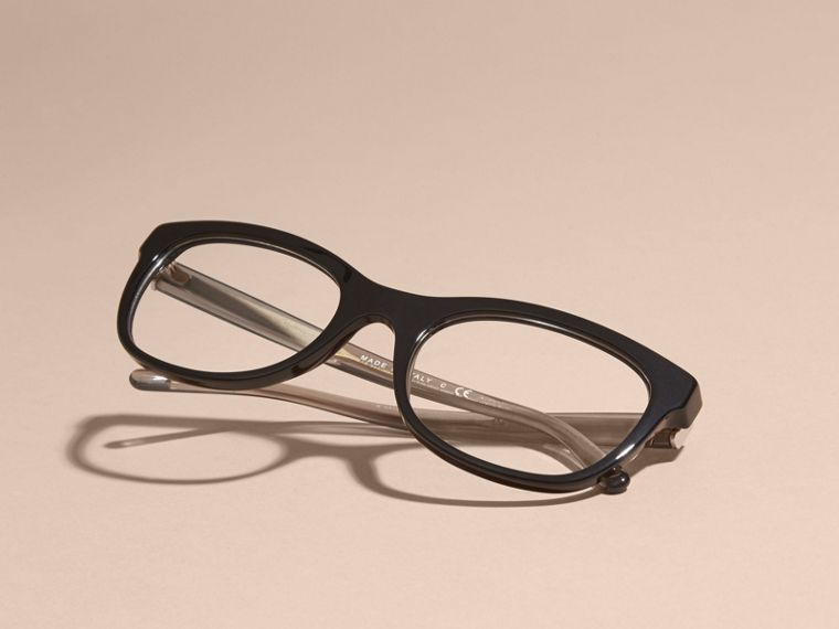 Black Check Detail Oval Optical Frames Black - cell image 4